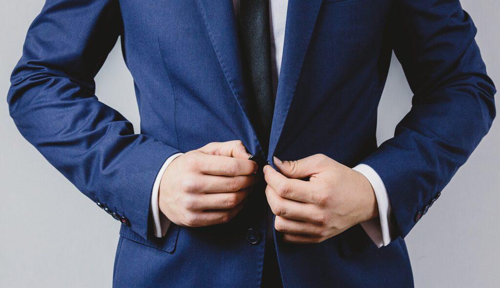businessman, suit, button
